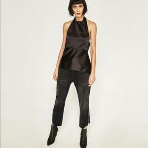 Zara satin open back top